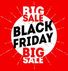 Black friday sale banner on red background vector image