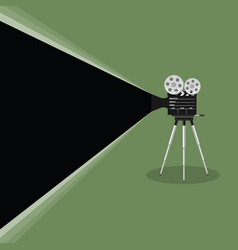 camera old movie on green background vector image vector image
