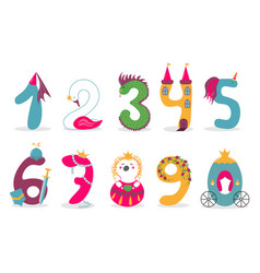 Funny cute princess numbers colorful vector