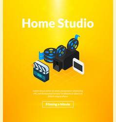 home studio poster of isometric color design vector image