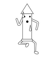 kawaii rocket icon vector image vector image