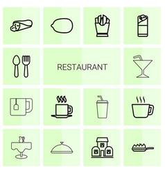 14 restaurant icons vector