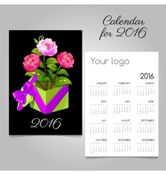 2016 calendar and gift box with pink roses vector