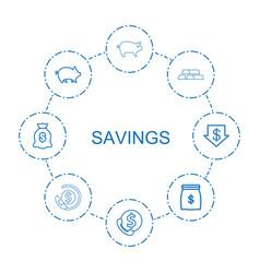8 savings icons vector image