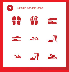9 sandals icons vector