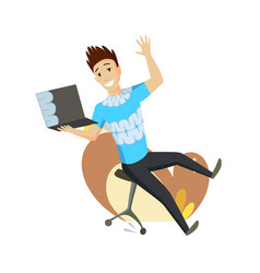 a man is talking messenger laptop sitting on vector image