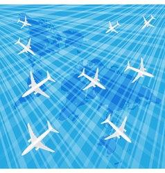 Airplanes in the blue sky over the wold map vector