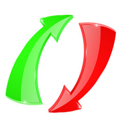 Arrows circulation sign red and green vector