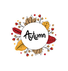 autumn cute banner with circle vector image