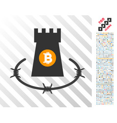 Bitcoin barbwire bulwark flat icon with bonus vector