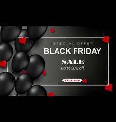 black friday sale poster with shiny balloons on a vector image