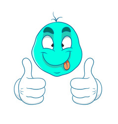 Blue cartoon thumbs up vector