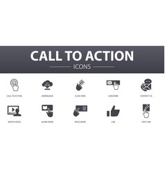 call to action simple concept icons set contains vector image