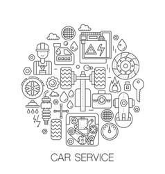 car service in circle - concept line vector image