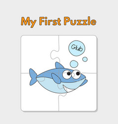 cartoon shark puzzle template for children vector image