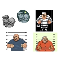 Cartoon thief robber gangster and prisoner vector