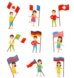 children with national flags of different vector image