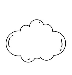 cloud cute cartoon in black and white vector image