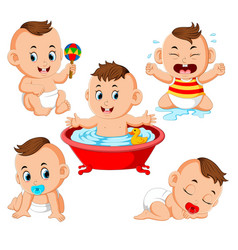 collection of the baby boy doing the activitie vector image