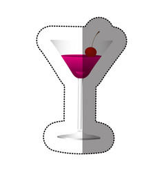 Color cocktail beverage with cherry icon vector