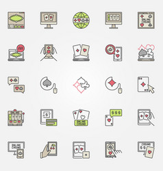 colorful online casino casino icons vector image