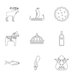 Country of Vikings icons set outline style vector image
