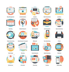 Creative flat icons set digital and internet vector
