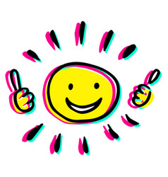 Creative sun with two thumbs up vector