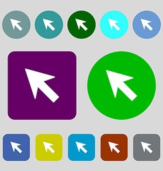 Cursor arrow icon sign 12 colored buttons Flat vector image