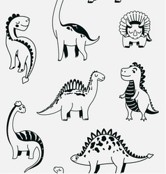 Cute dinosaurs seamless pattern with black vector