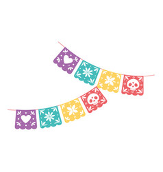 day dead mexican celebration pennants vector image