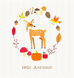 deer with autumn frame card vector image