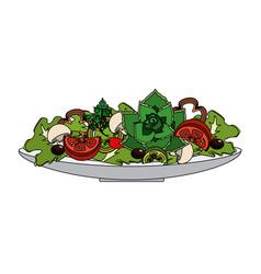 Delicious fresh organ salad in the bowl vector
