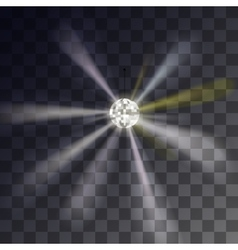 Disco ball showy rays on a transparent vector image