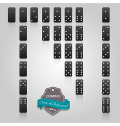 Domino black set of 28 pieces vector