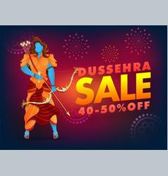 dussehra sale poster design with 40-50 discount vector image