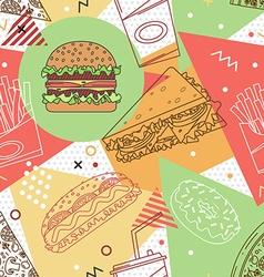 Fast food seamless pattern trendy geometric vector