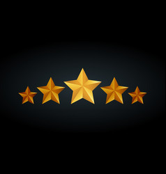 five golden rating star in gray black background vector image