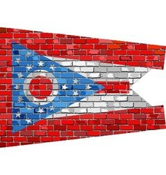 Flag of Ohio on a brick wall vector