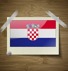 Flags Croatia at frame on wooden texture vector image