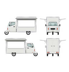 food truck realistic fast food delivery motorbike vector image