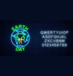 Glowing neon sign world earth day with tree in vector