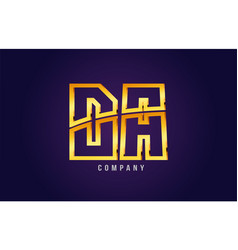 Gold golden alphabet letter da d a logo vector