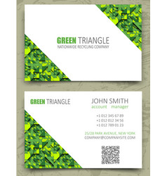 green triangles modern business card design vector image