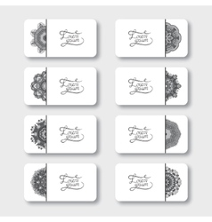 Grey set of ornamental floral business cards vector