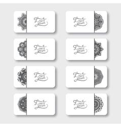 Grey set of ornamental floral business cards vector