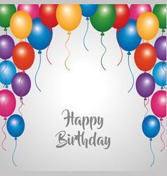 Happy birthday card party celebration border vector