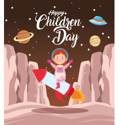 Happy children day celebration with girl in the vector