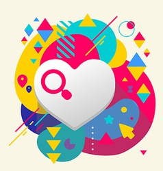 Heart on abstract colorful spotted background with vector