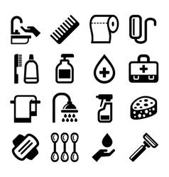 hygiene icons set on white background vector image